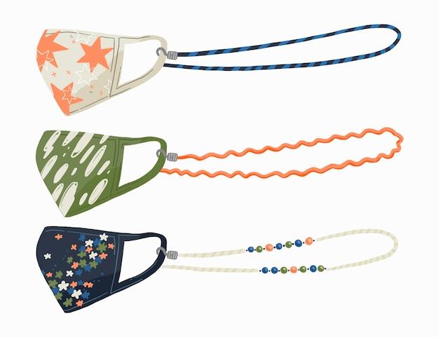 Hand gezeichnete modegesichtsmasken-lanyard-sammlung