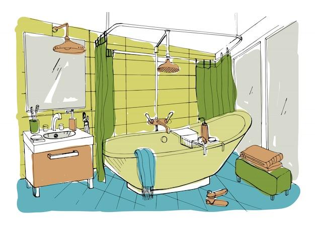 Hand gezeichnete moderne badezimmerinnenarchitektur.