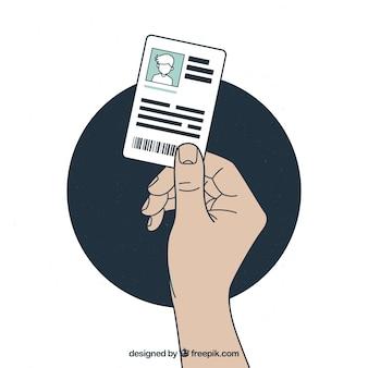 Hand gezeichnete moderne identifikations-karte