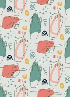 Hand gezeichnete moderne illustration mit linienhänden, verschiedenen formen und gekritzelobjekten. nahtloses muster des abstrakten modernen trendigen vektors.