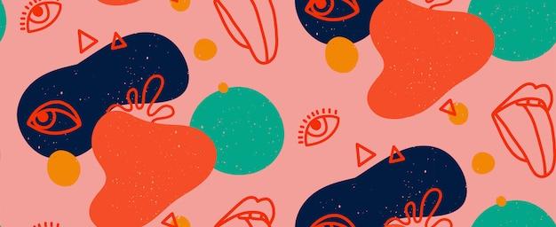 Hand gezeichnete moderne illustration mit modischen lippen mit zunge und auge, verschiedenen formen und gekritzelobjekten. abstraktes modernes trendiges nahtloses muster. retro, pin-up