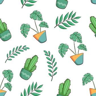 Hand gezeichnete monstera pflanze und kaktus nahtloses muster