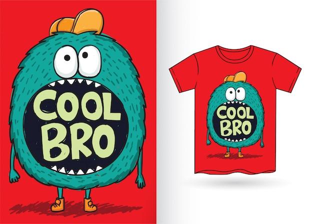 Hand gezeichnete monsterkarikatur für t-shirt