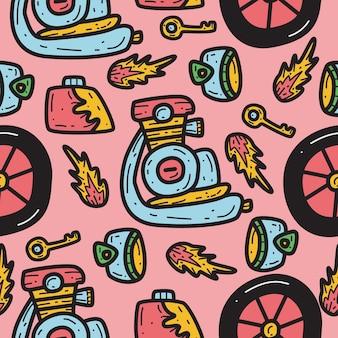 Hand gezeichnete motorrad gekritzel muster design illustration