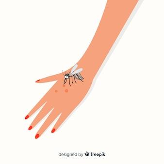 Hand gezeichnete mücke, die eine hand beißt