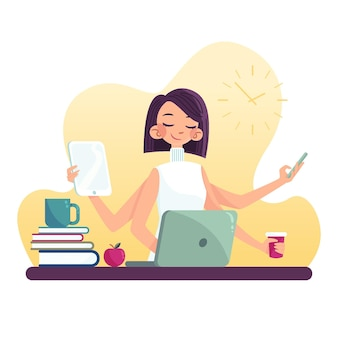 Hand gezeichnete multitask-geschäftsfrau