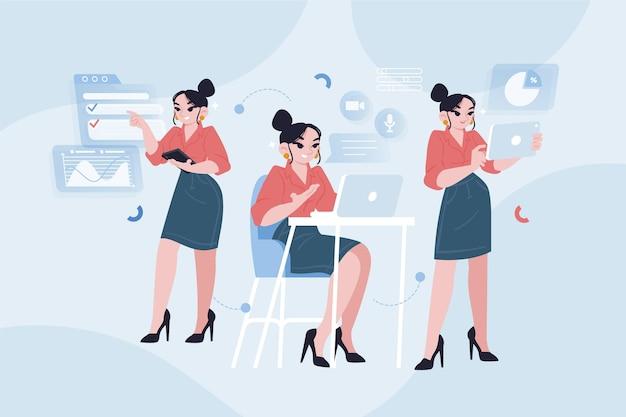 Hand gezeichnete multitask-geschäftsfrauenillustration