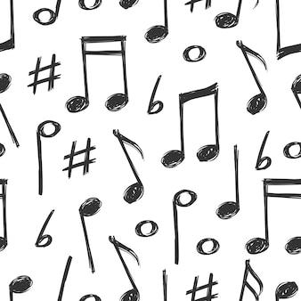 Hand gezeichnete musik merkt nahtloses musterdesign