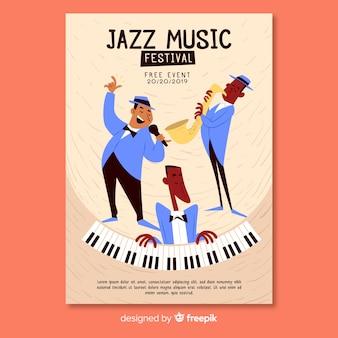Hand gezeichnete musikfestival-plakatschablone