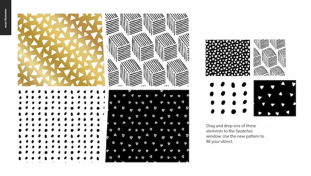 Hand gezeichnete muster - ein gruppensatz abstrakte nahtlose muster