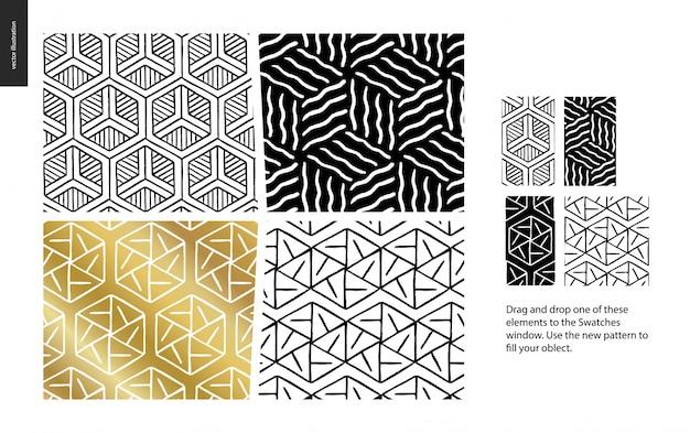 Hand gezeichnete muster - ein gruppensatz von vier abstrakten mustern - schwarzes, gold und weiß. geometrische linien, punkte und formen - stücke