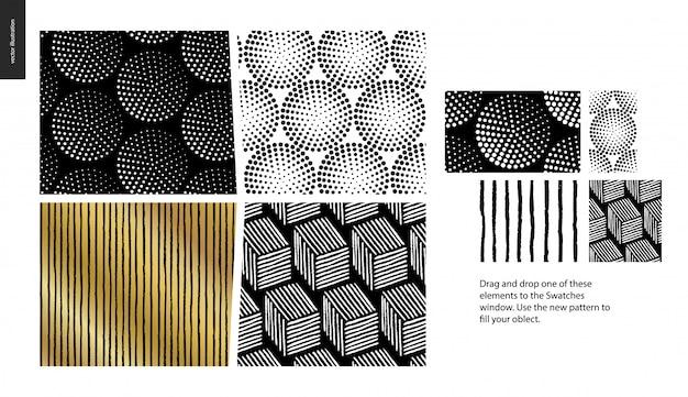 Hand gezeichnete muster - ein gruppensatz von vier abstrakten nahtlosen mustern - schwarzes, gold und weiß. geometrische linien, punkte und formen - stücke