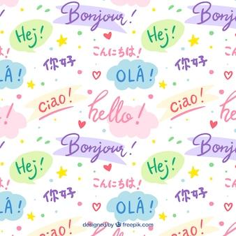Hand gezeichnete muster mit hallo wort in verschiedenen sprachen