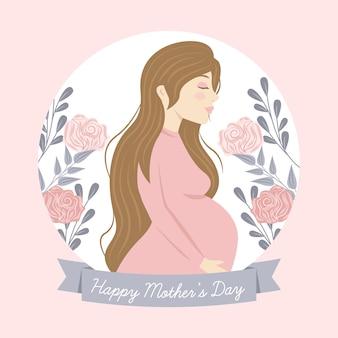 Hand gezeichnete muttertagsillustration mit der schwangeren frau
