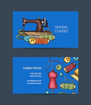 Hand gezeichnete nähende element-visitenkarteschablone für atelier oder nähende klassenillustration
