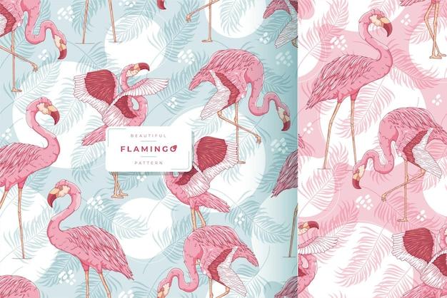 Hand gezeichnete nahtlose musterkollektion des exotischen flamingos