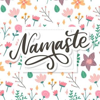Hand gezeichnete namaste-karte. hallo in hindi. tintenillustration. hand gezeichnete beschriftung. positives zitat. moderne pinselkalligraphie.