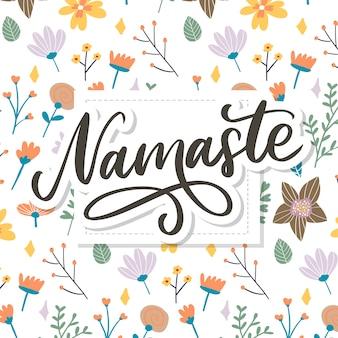 Hand gezeichnete namaste-karte.