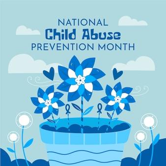 Hand gezeichnete nationale abbildung des monats zur verhinderung von kindesmissbrauch