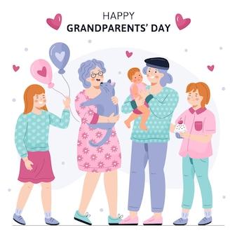 Hand gezeichnete nationale großeltern tag usa