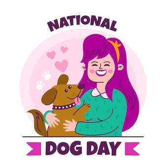 Hand gezeichnete nationale illustration des hundetages