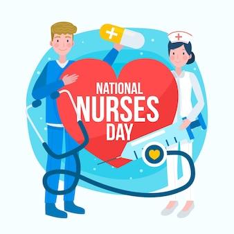 Hand gezeichnete nationale krankenschwestern-tagesillustration