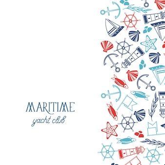 Hand gezeichnete nautische schablone mit schiffsanker-leuchtturmfischflaggen-seestern-muschelkorallenlenkrad