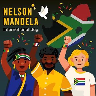 Hand gezeichnete nelson mandela international day illustration