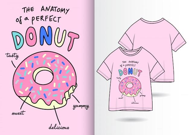 Hand gezeichnete nette donutillustration mit t-shirt design