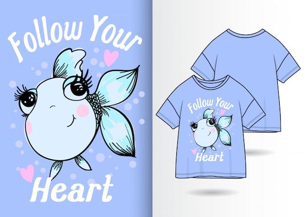 Hand gezeichnete nette fischillustration mit t-shirt design