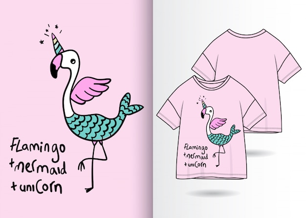 Hand gezeichnete nette flamingoillustration mit t-shirt design