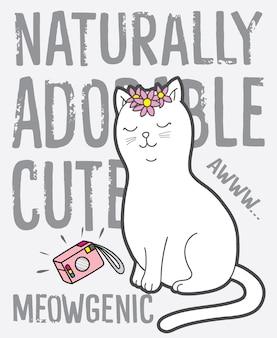 Hand gezeichnete nette katze für t-shirt