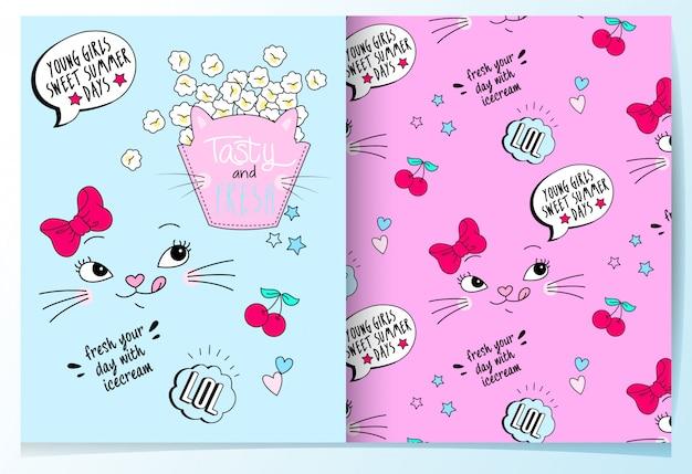 Hand gezeichnete nette katze mit popcornmustersatz
