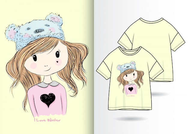 Hand gezeichnete nette mädchenillustration mit t-shirt design