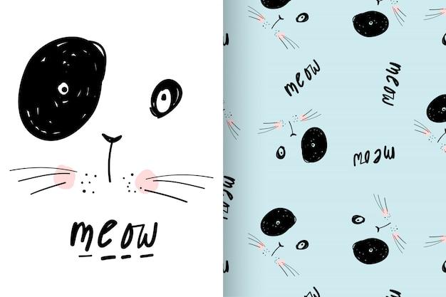 Hand gezeichnete nette miezekatze mit mustervektorsatz