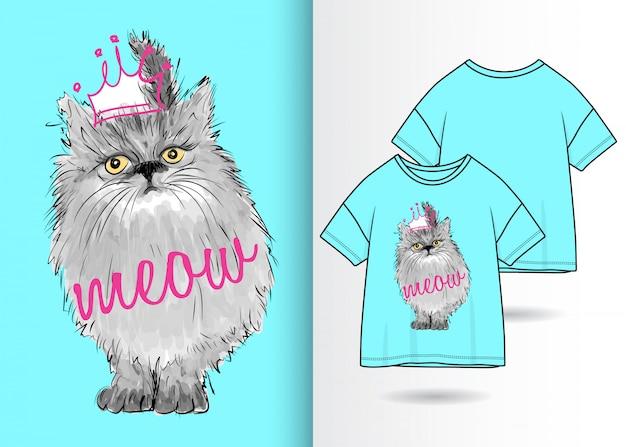 Hand gezeichnete nette miezekatzeillustration mit t-shirt design