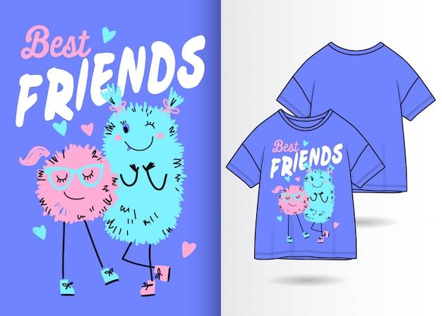 Hand gezeichnete nette monsterillustration mit t-shirt design