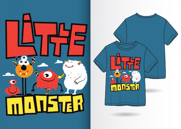 Hand gezeichnete nette monsterillustration mit t-shirt design