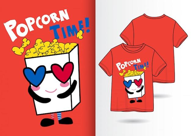 Hand gezeichnete nette popcornillustration mit t-shirt design