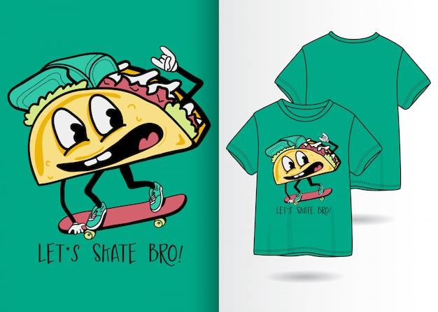 Hand gezeichnete nette sandwichillustration mit t-shirt design