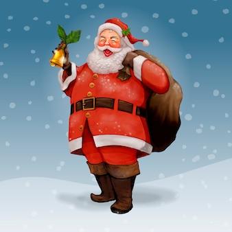 Hand gezeichnete nette santa claus, die einen geschenksack trägt