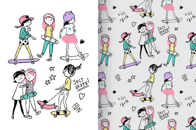 Hand gezeichnete nette skateboard fahren