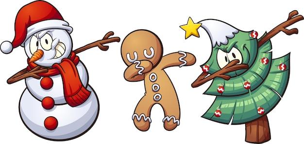 Hand gezeichnete nette weihnachtscharaktere