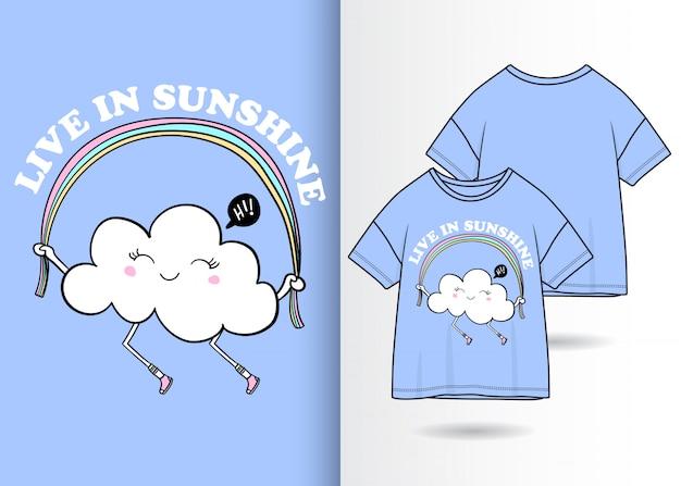 Hand gezeichnete nette wolkenillustration mit t-shirt design