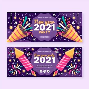 Hand gezeichnete neue jahr 2021 party banner vorlage