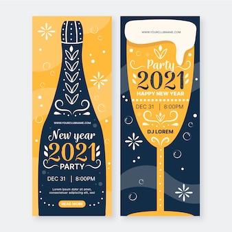 Hand gezeichnete neujahr 2021 party banner