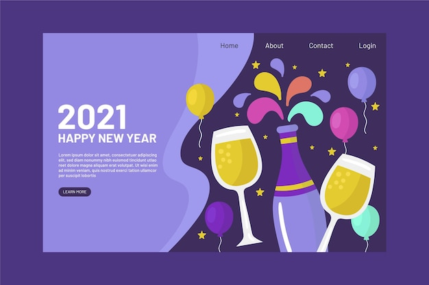 Hand gezeichnete neujahrs-landingpage-vorlage