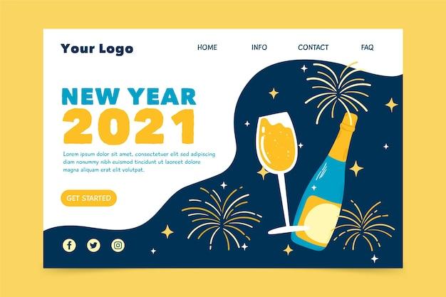 Hand gezeichnete neujahrs-landingpage