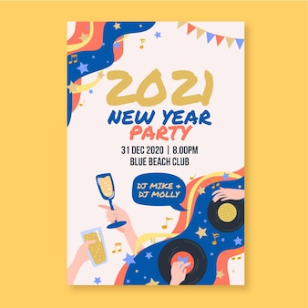 Hand gezeichnete neujahrsfestplakatvorlage des neuen jahres 2021