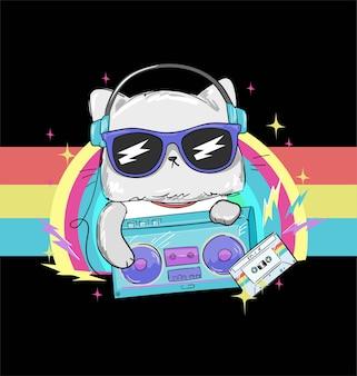 Hand gezeichnete niedliche katze mit radio-tonbandgerät und kassette für t-shirt-druckillustration